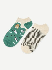 Animal & Striped Print Socks 2pairs