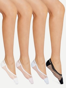 Striped Mesh Panel Socks 4pairs