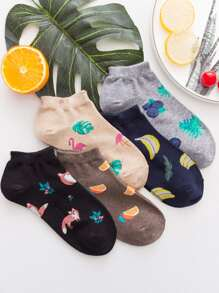 Tropical Print Socks 5pairs