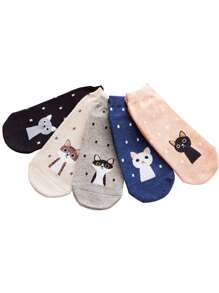 Cartoon Print Socks 5pairs