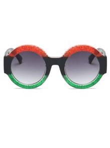 Color Block Frame Round Sunglasses