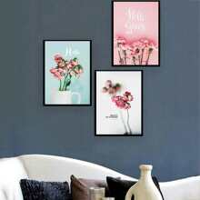 INOpets.com Anything for Pets Parents & Their Pets Flowers & Letter Painting Cloth Wall Art 3pcs