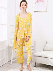 Leaf Print Cami Pajama Set With Robe