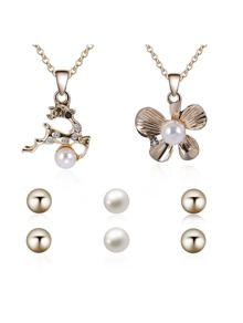 Pearl Deer Pendant Necklace 2pcs & Earrings 3pairs