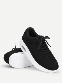 Lace Up Low Top Suede Sneakers