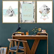 Letter & Geometric Painting Cloth Wall Art 3pcs