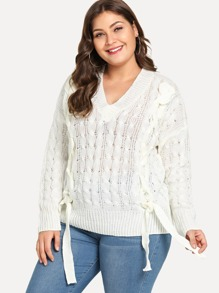 Plus Drop Shoulder Lace Up Solid Jumper