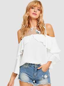 Embroidered Mesh Cold Shoulder Ruffle Top