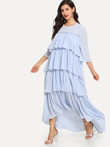 Dip Hem Layered Flounce Dress