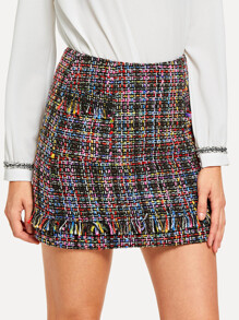 Frayed Detail Tweed Skirt