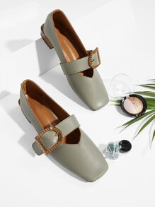 Contrast Buckle Square Toe Flats