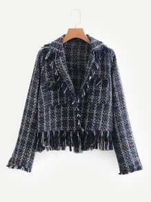 Fringe Trim Tweed Coat