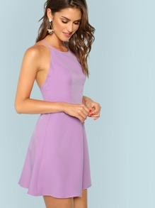 Crisscross Self Tie Back Fit And Flare Dress