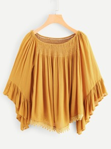Off Shoulder Ruffle Hem Blouse