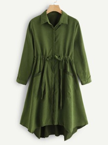 Solid Drawstring Detail Pocket Trench Coat
