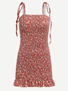 Ruffle Trim Tie Shoulder Floral Cami Dress