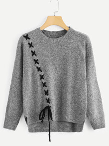 Lace Up Detail Dip Hem Sweater