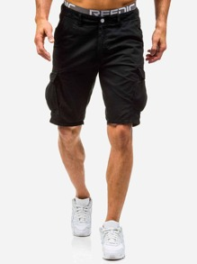Men Pocket Decoration Plain Shorts