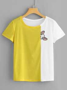Dog Print Colorblock Tee