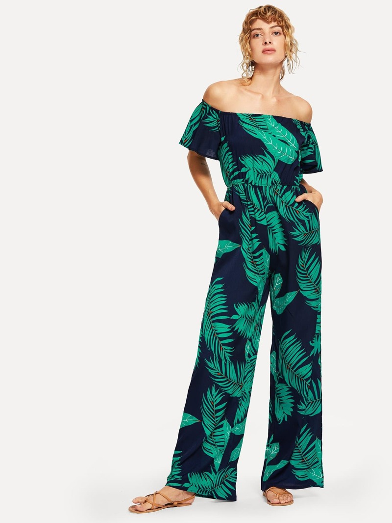 new style & luxury deft design amazing quality Off Shoulder Palm Tree Print Jumpsuit