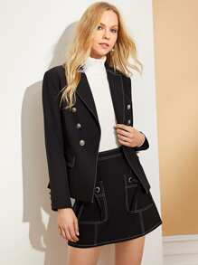 Double Breasted Shawl Collar Blazer