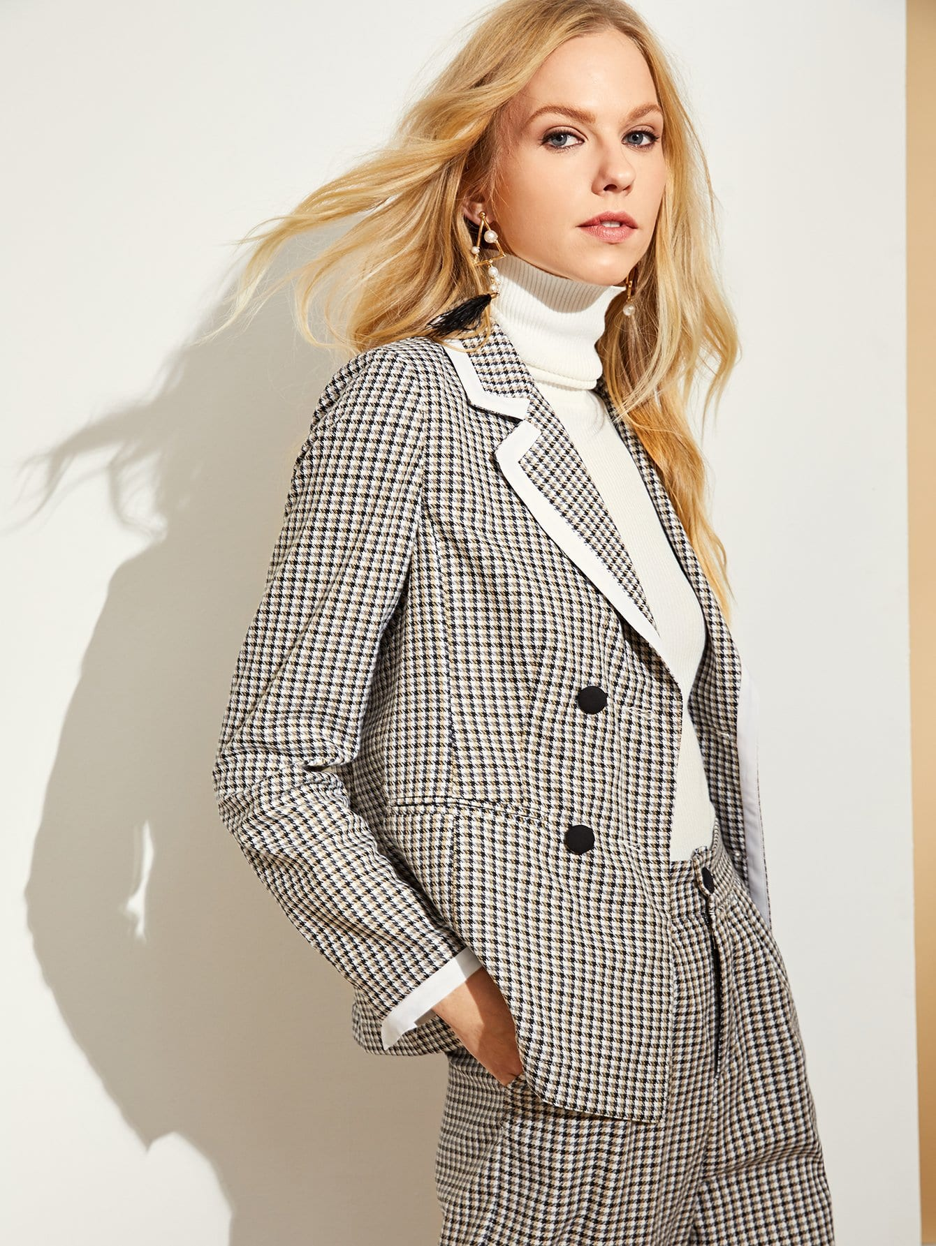 Contrast Binding Double Breasted Plaid Blazer Contrast Binding Double Breasted Plaid Blazer
