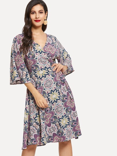 Floral Print Bell Sleeve Surplice Neck Dress