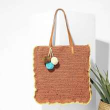 Pom Pom Decorated Straw Tote Bag