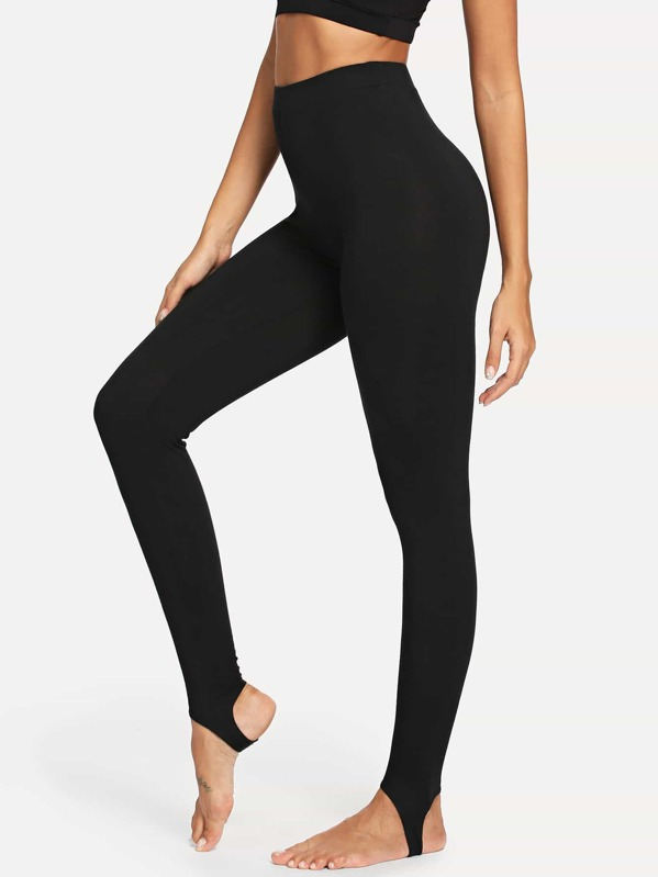 d0b7cd7f83d76b High Rise Stirrup Leggings | SHEIN
