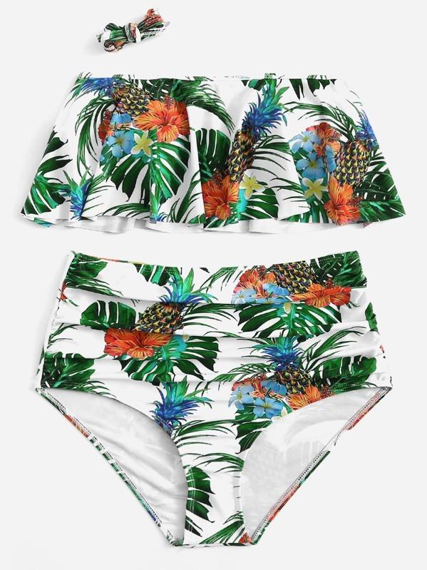 0c2e44215b Tropical Flounce Top With High Waist Bikini Set | SHEIN