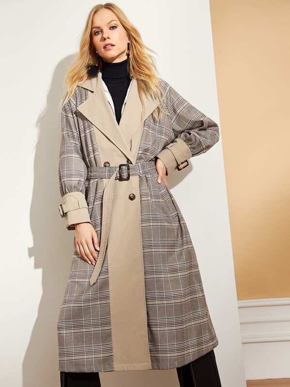 08c0886e6a Cut and Sew Buckle Belted Trench Coat
