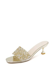 Open Toe Glitter Kitten Heeled Sandals