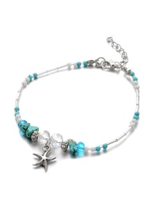 Starfish Charm Beaded Anklet