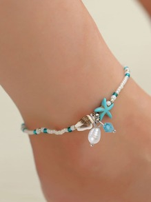 Shell Detail Beaded Anklet