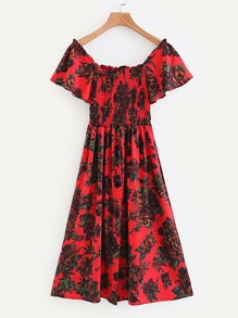 All Over Florals Frill Trim Shirred Dress