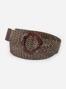 Circle Buckle Woven Belt