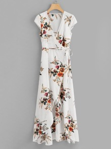 Tie Side Floral Wrap Dress