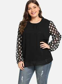 Plus Polka Dot Sleeve Blouse