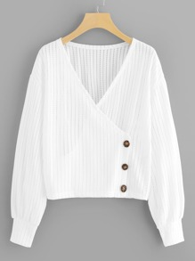 Button Detail Wrap Blouse