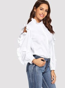 Ruffle Trim Single Breasted Cold Shoulder Blouse