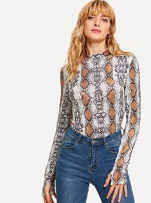 Graphic Print Skinny Bodysuit