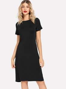 Boat Neck Skinny Solid Dress
