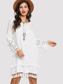 Contrast Lace Fringe Detail Dress