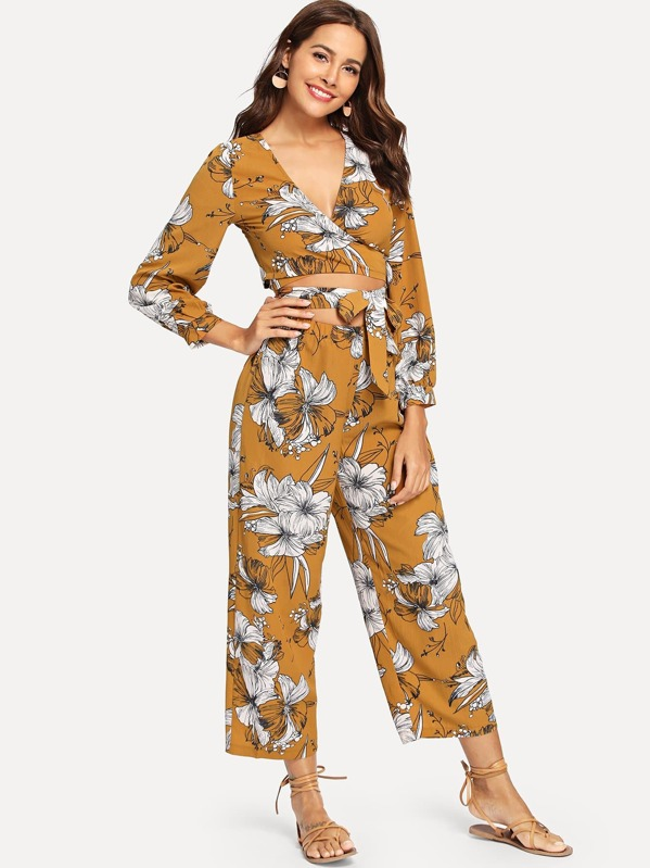 a8010a4cc2fe32 Floral Print Knot Front Top With Pants