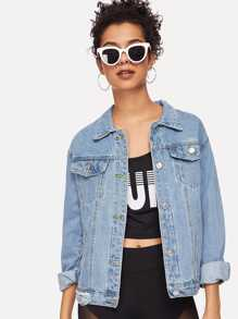 Bleach Wash Pocket Front Denim Jacket
