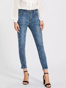 Pearl Beaded Frayed Hem Jeans