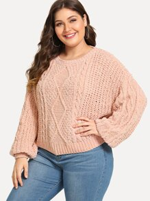 Plus Solid Bell Sleeve Jumper