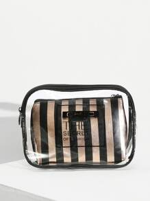 Zip Around Clear Bag With Inner Clutch