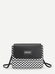 Chevron Pattern Flap Crossbody Bag