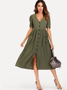 Button Through Pocket Patched Midi Dress